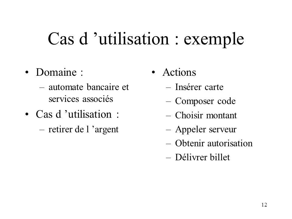 12 Cas d utilisation : exemple Domaine : –automate bancaire et services associés Cas d utilisation : –retirer de l argent Actions –Insérer carte –Comp