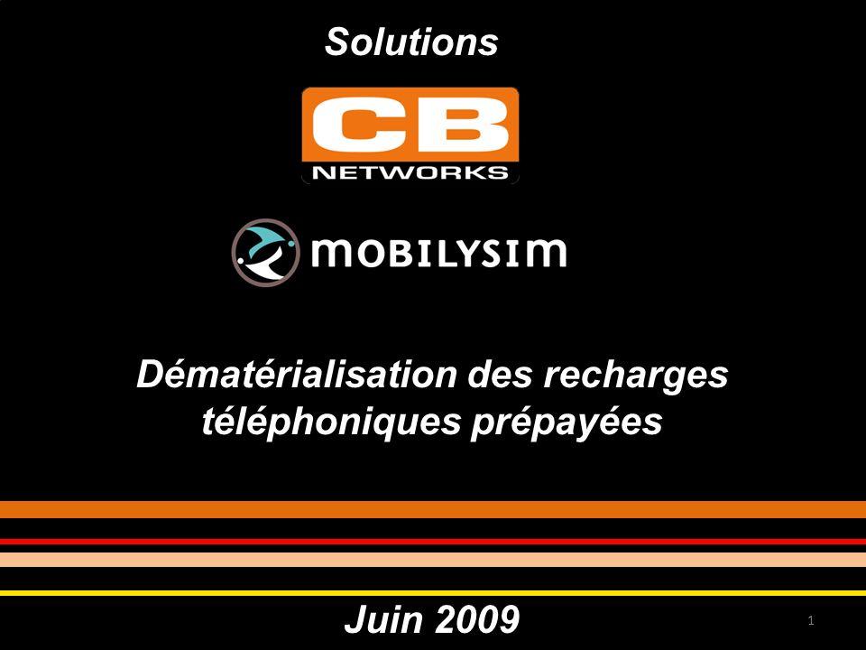 Dématérialisation des recharges téléphoniques prépayées Juin 2009 1 Solutions