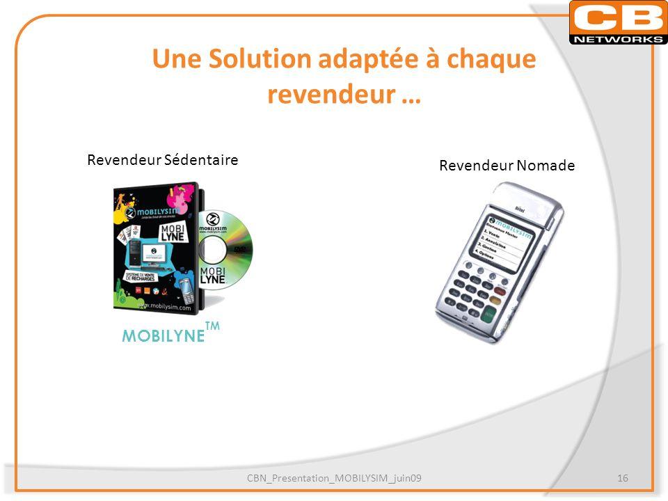 Une Solution adaptée à chaque revendeur … MOBILYNE TM CBN_Presentation_MOBILYSIM_juin0916 Revendeur Sédentaire Revendeur Nomade