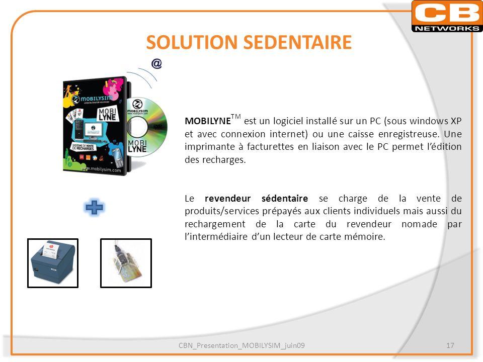 SOLUTION SEDENTAIRE MOBILYNE TM est un logiciel installé sur un PC (sous windows XP et avec connexion internet) ou une caisse enregistreuse. Une impri
