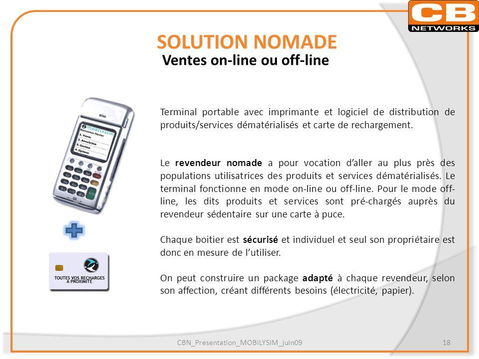 SOLUTION NOMADE Ventes on-line ou off-line Terminal portable avec imprimante et logiciel de distribution de produits/services dématérialisés et carte