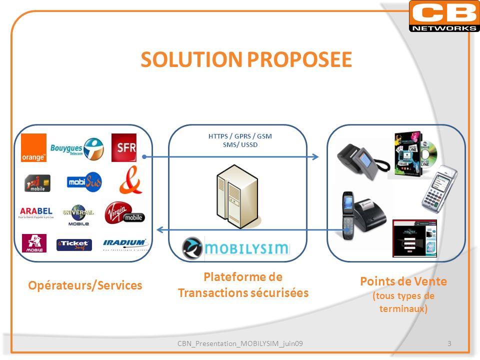 SOLUTION PROPOSEE CBN_Presentation_MOBILYSIM_juin093 Points de Vente (tous types de terminaux) Plateforme de Transactions sécurisées HTTPS / GPRS / GS