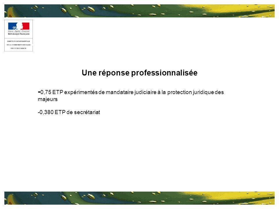 Une réponse professionnalisée - 0,75 ETP expérimentés de mandataire judiciaire à la protection juridique des majeurs -0,380 ETP de secrétariat