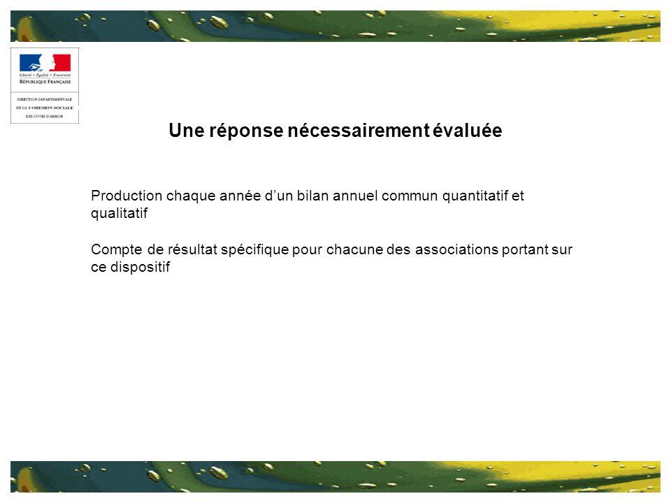 Une réponse nécessairement évaluée Production chaque année dun bilan annuel commun quantitatif et qualitatif Compte de résultat spécifique pour chacune des associations portant sur ce dispositif
