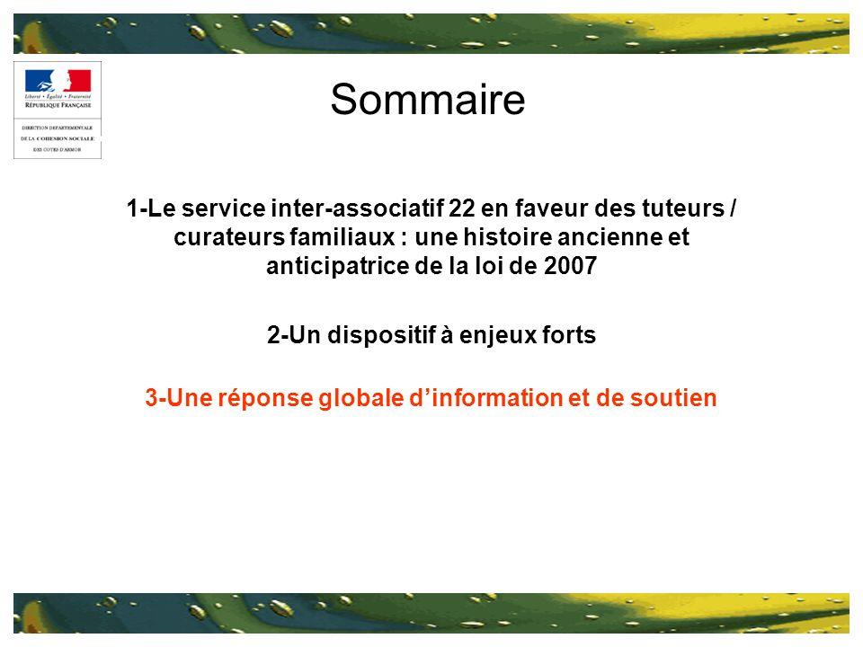 Sommaire 1-Le service inter-associatif 22 en faveur des tuteurs / curateurs familiaux : une histoire ancienne et anticipatrice de la loi de 2007 2-Un dispositif à enjeux forts 3-Une réponse globale dinformation et de soutien