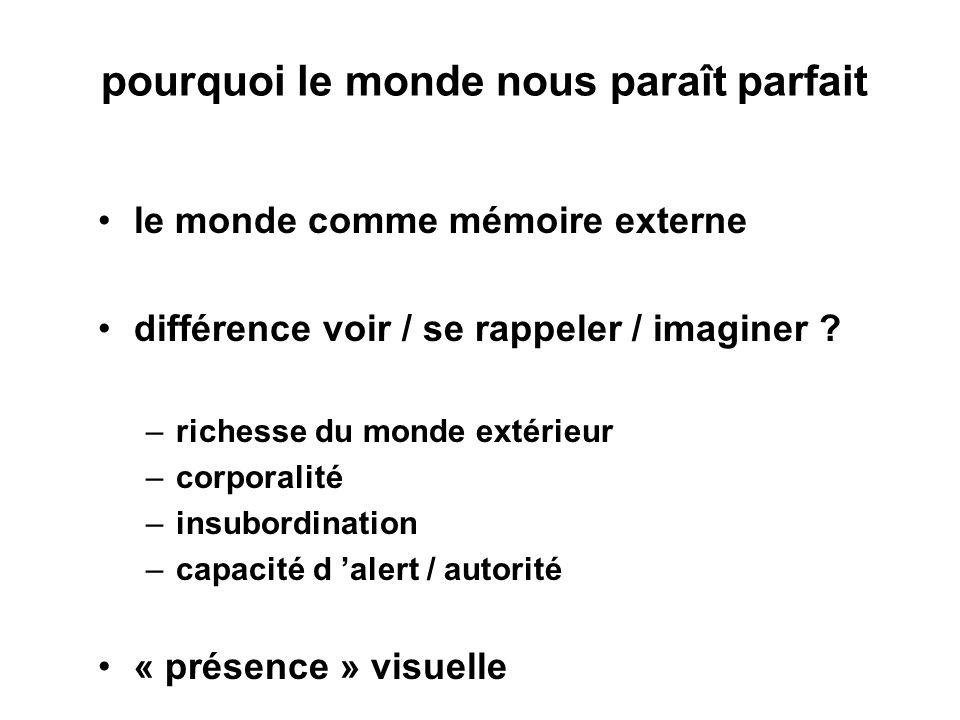 pourquoi le monde nous paraît parfait le monde comme mémoire externe différence voir / se rappeler / imaginer .