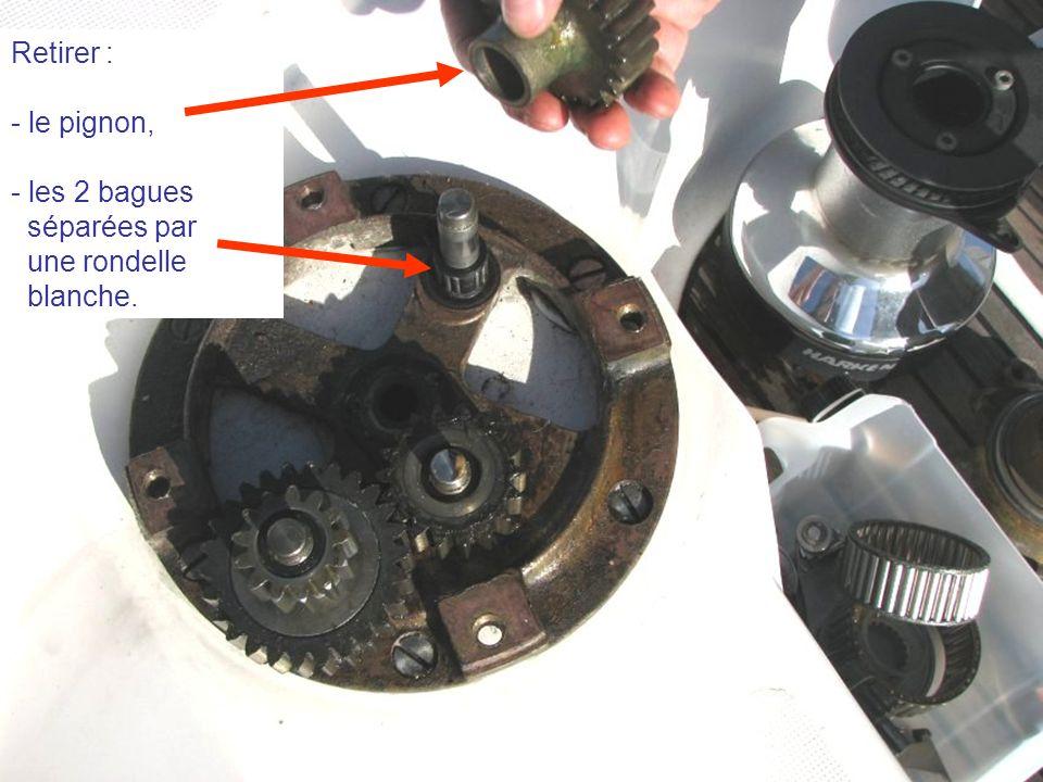 Retirer : - le pignon, - les 2 bagues séparées par une rondelle blanche.