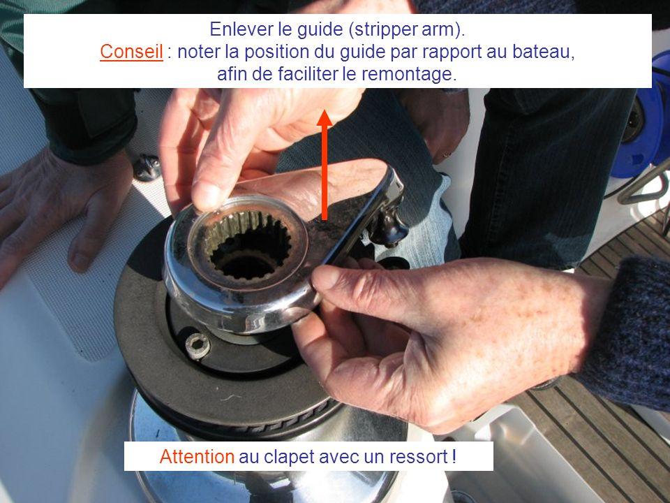 Enlever le guide (stripper arm). Conseil : noter la position du guide par rapport au bateau, afin de faciliter le remontage. Attention au clapet avec