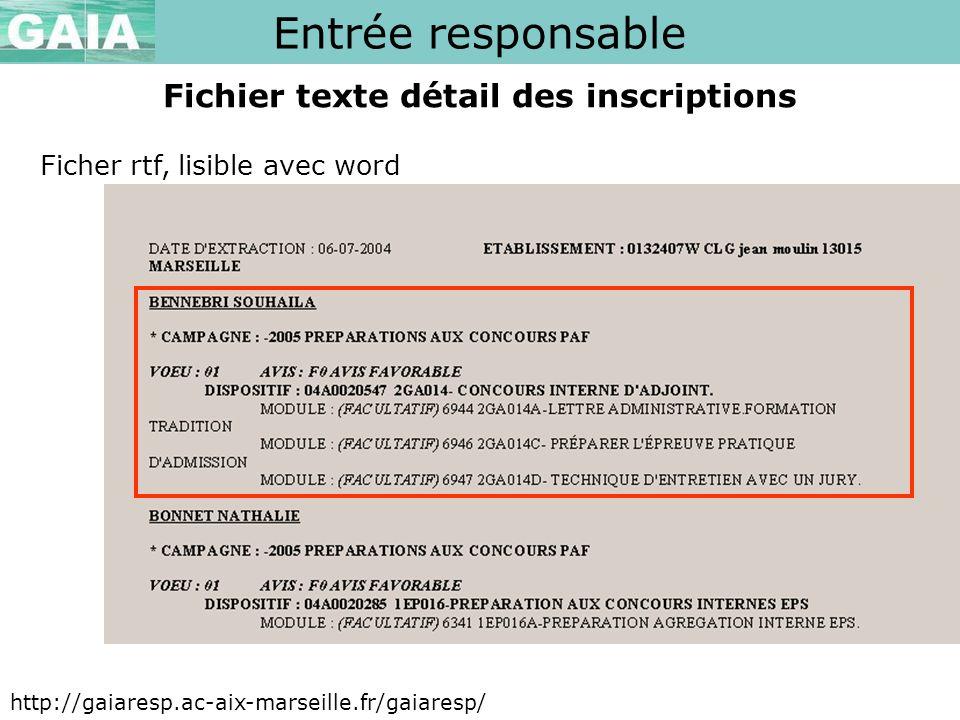 Entrée responsable http://gaiaresp.ac-aix-marseille.fr/gaiaresp/ Fichier texte détail des inscriptions Ficher rtf, lisible avec word