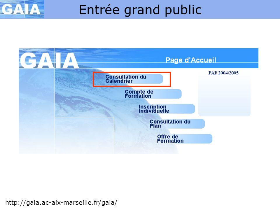 Entrée grand public http://gaia.ac-aix-marseille.fr/gaia/ Non utilisée .