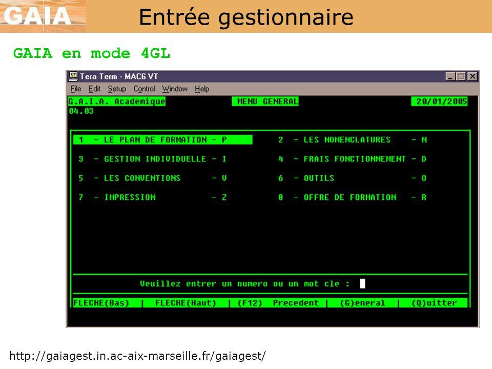 Entrée gestionnaire http://gaiagest.in.ac-aix-marseille.fr/gaiagest/ GAIA en mode 4GL