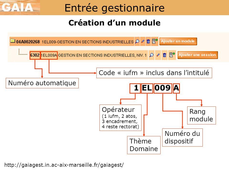 Entrée gestionnaire Création dun module http://gaiagest.in.ac-aix-marseille.fr/gaiagest/ Numéro automatique Code « iufm » inclus dans lintitulé 1 EL 0