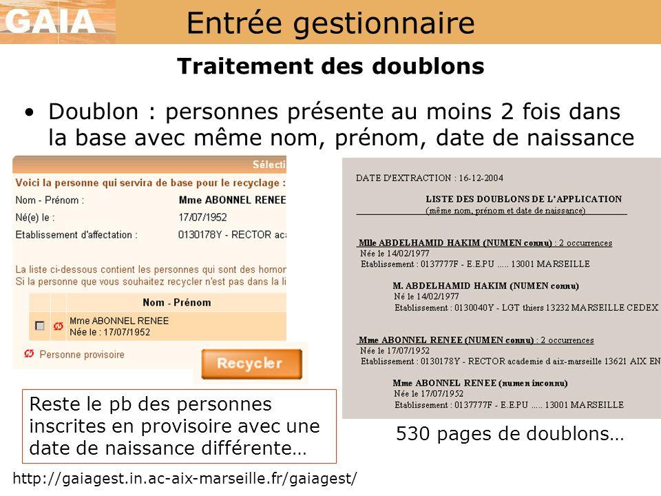 Entrée gestionnaire http://gaiagest.in.ac-aix-marseille.fr/gaiagest/ Traitement des doublons 530 pages de doublons… Reste le pb des personnes inscrite