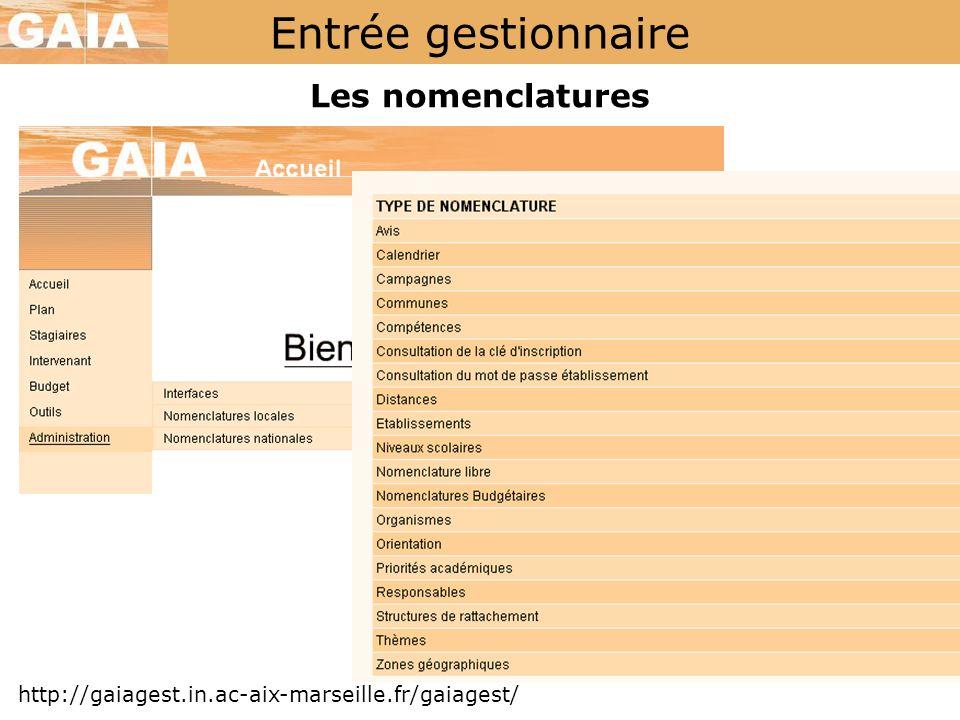 Entrée gestionnaire Les nomenclatures http://gaiagest.in.ac-aix-marseille.fr/gaiagest/