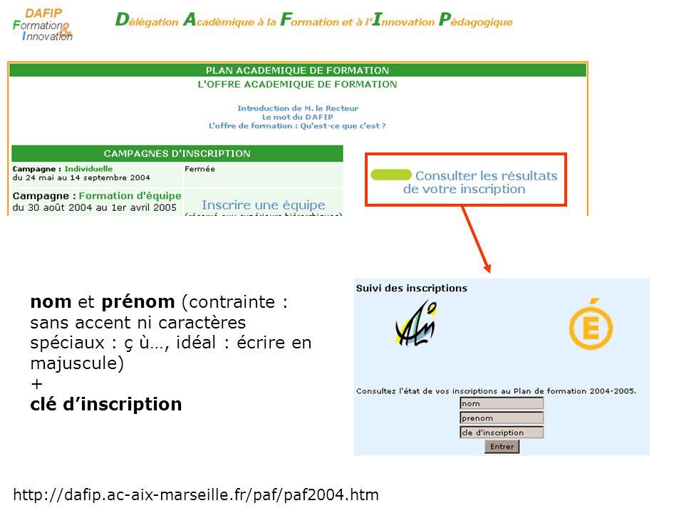 http://dafip.ac-aix-marseille.fr/paf/paf2004.htm nom et prénom (contrainte : sans accent ni caractères spéciaux : ç ù…, idéal : écrire en majuscule) +