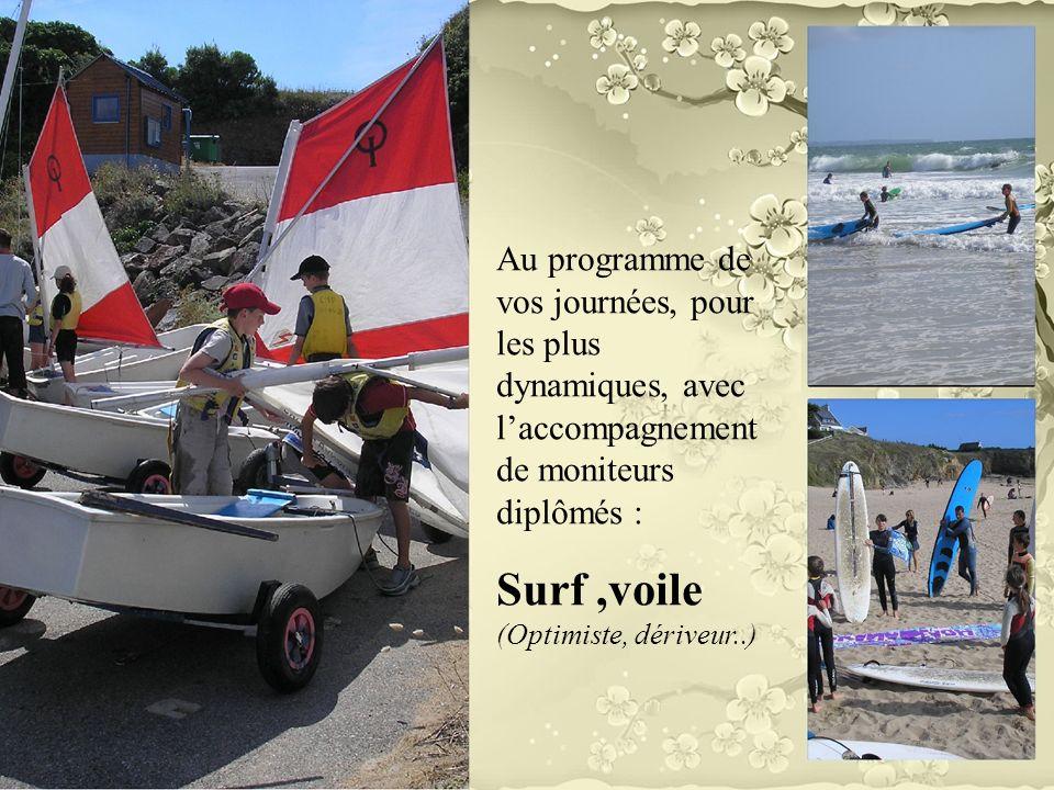 Au programme de vos journées, pour les plus dynamiques, avec laccompagnement de moniteurs diplômés : Surf,voile (Optimiste, dériveur..)
