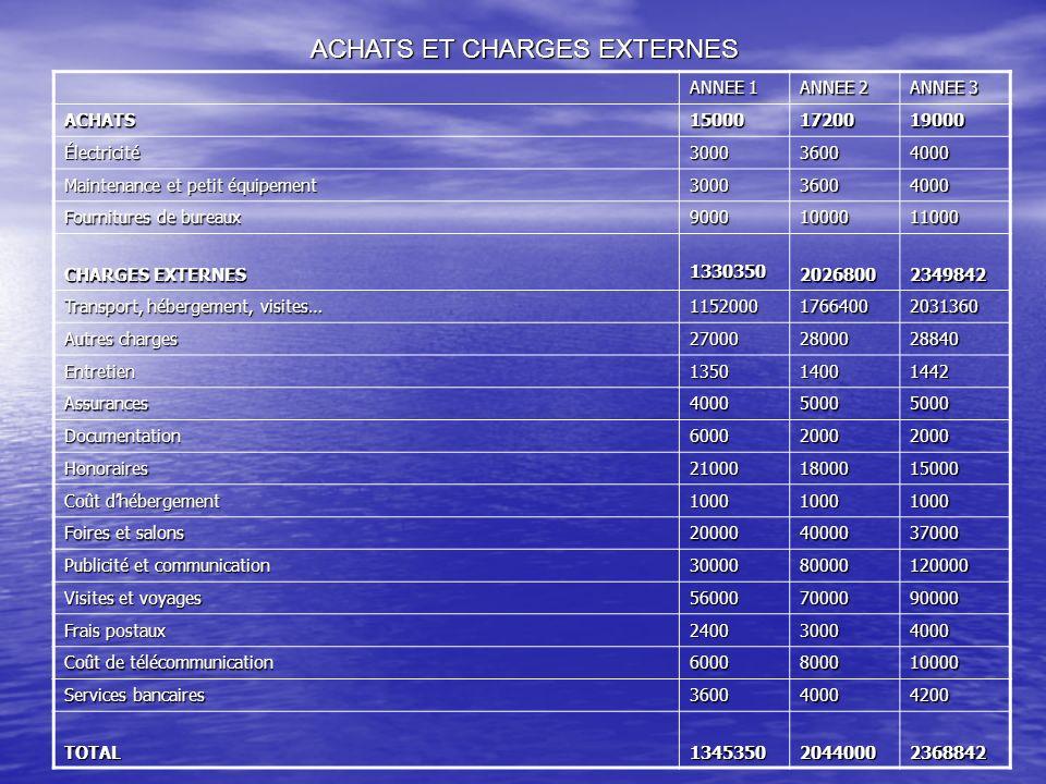 ACHATS ET CHARGES EXTERNES ANNEE 1 ANNEE 2 ANNEE 3 ACHATS150001720019000 Électricité300036004000 Maintenance et petit équipement 300036004000 Fournitu