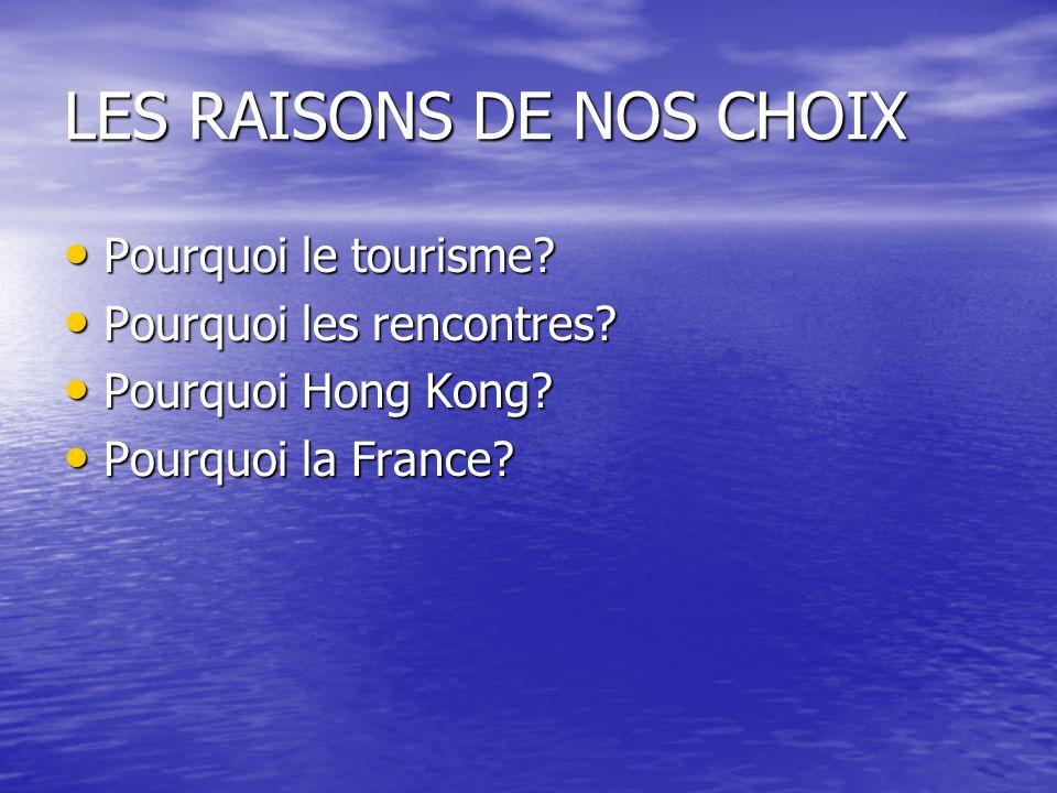 LES RAISONS DE NOS CHOIX Pourquoi le tourisme? Pourquoi le tourisme? Pourquoi les rencontres? Pourquoi les rencontres? Pourquoi Hong Kong? Pourquoi Ho