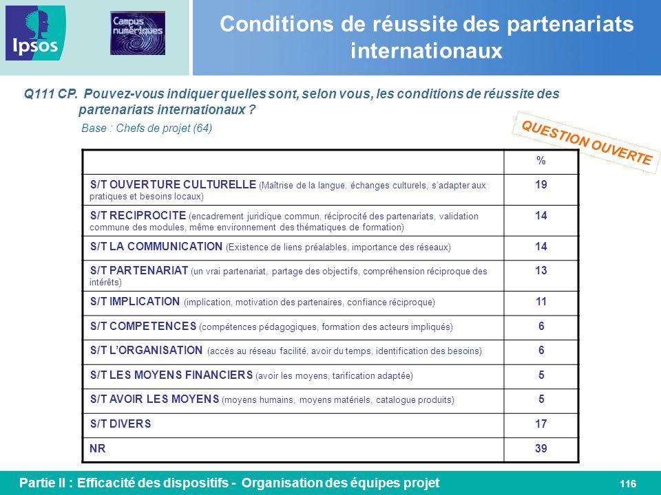 116 Conditions de réussite des partenariats internationaux Q111 CP. Pouvez-vous indiquer quelles sont, selon vous, les conditions de réussite des part