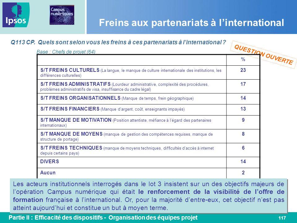 117 Freins aux partenariats à linternational Q113 CP. Quels sont selon vous les freins à ces partenariats à linternational ? Base : Chefs de projet (6