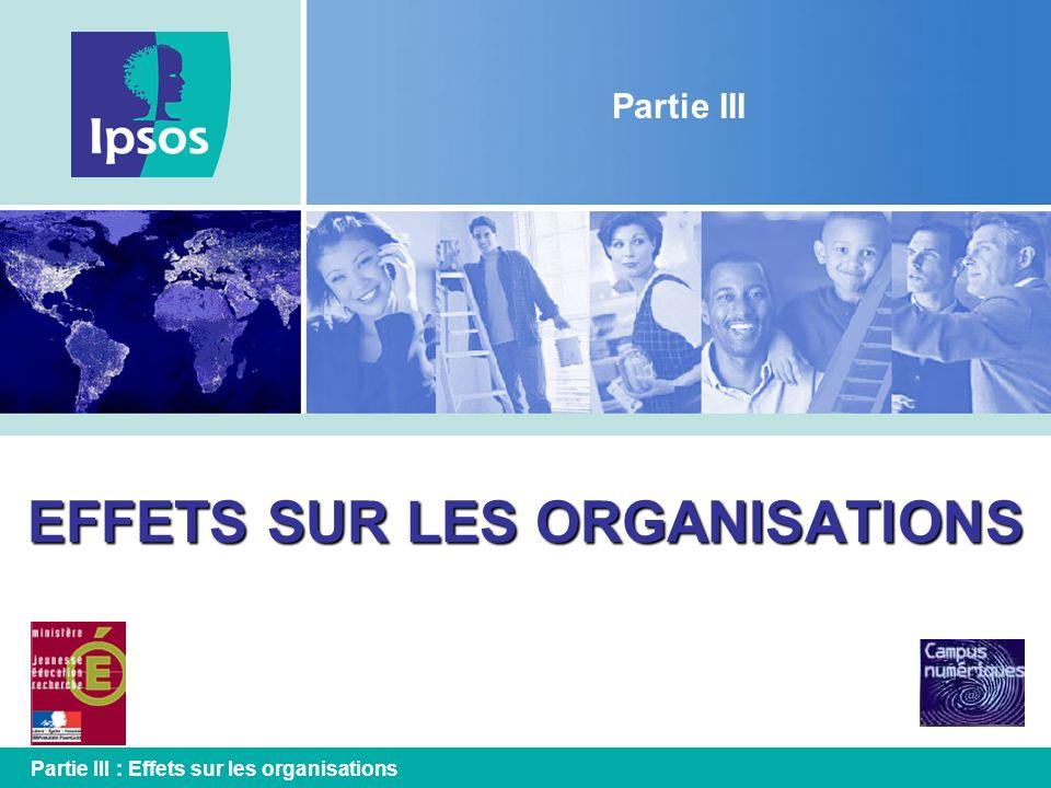 EFFETS SUR LES ORGANISATIONS Partie III Partie III : Effets sur les organisations