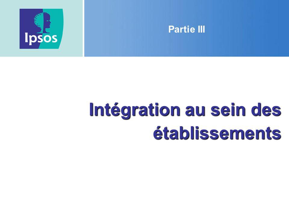 Intégration au sein des établissements Partie III