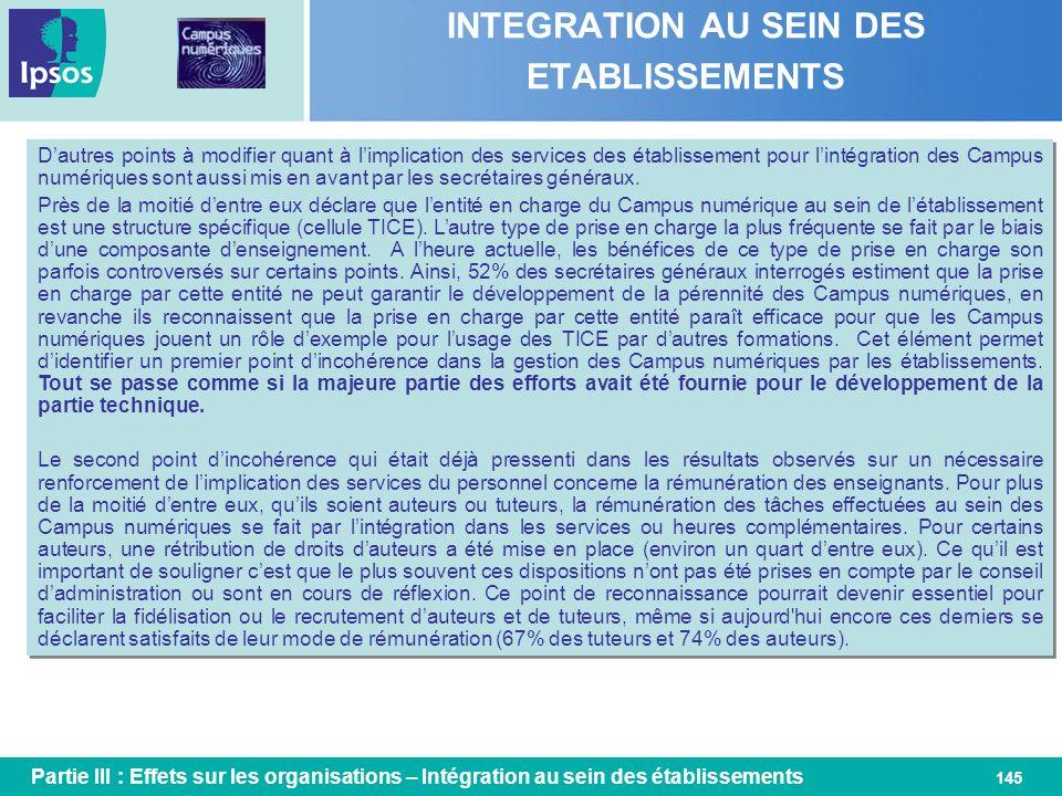 145 INTEGRATION AU SEIN DES ETABLISSEMENTS Dautres points à modifier quant à limplication des services des établissement pour lintégration des Campus