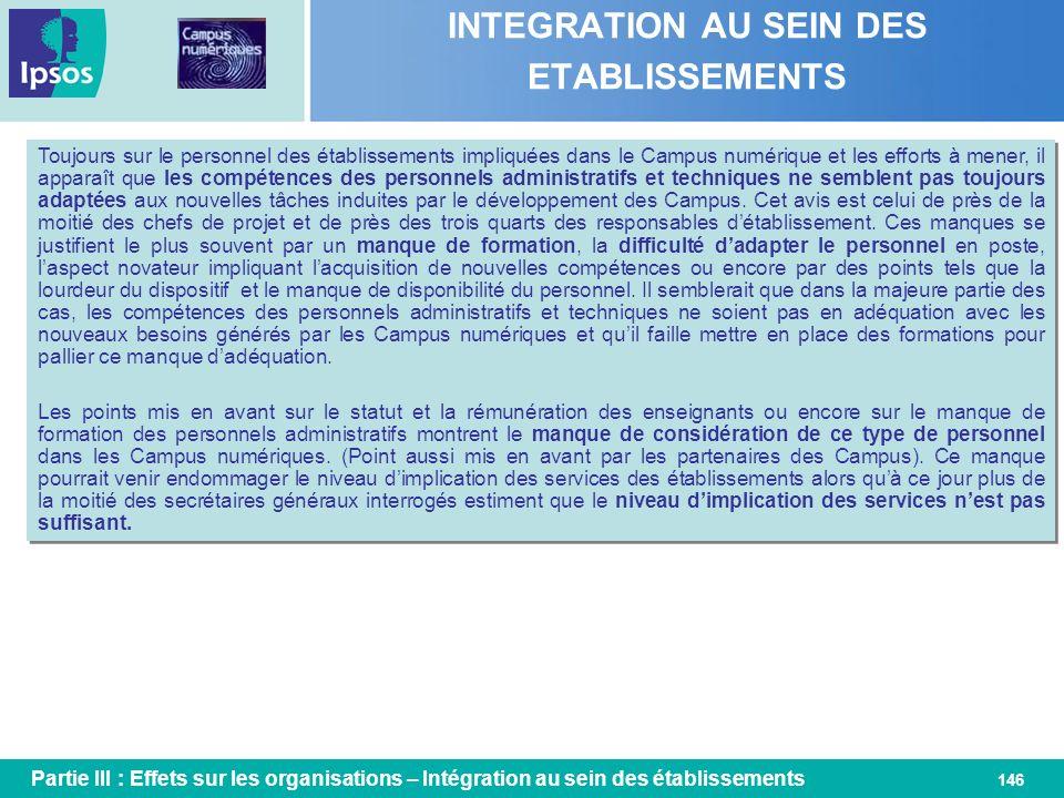 146 INTEGRATION AU SEIN DES ETABLISSEMENTS Toujours sur le personnel des établissements impliquées dans le Campus numérique et les efforts à mener, il