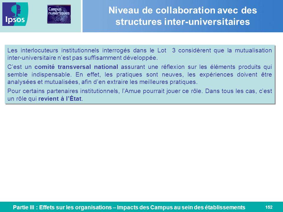 152 Niveau de collaboration avec des structures inter-universitaires Partie III : Effets sur les organisations – Impacts des Campus au sein des établi