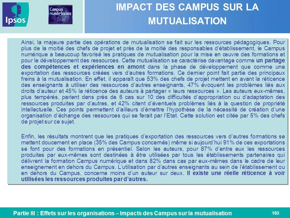 183 IMPACT DES CAMPUS SUR LA MUTUALISATION Ainsi, la majeure partie des opérations de mutualisation se fait sur les ressources pédagogiques. Pour plus
