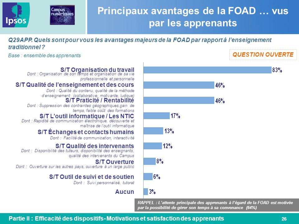 26 Principaux avantages de la FOAD … vus par les apprenants Q29APP. Quels sont pour vous les avantages majeurs de la FOAD par rapport à lenseignement