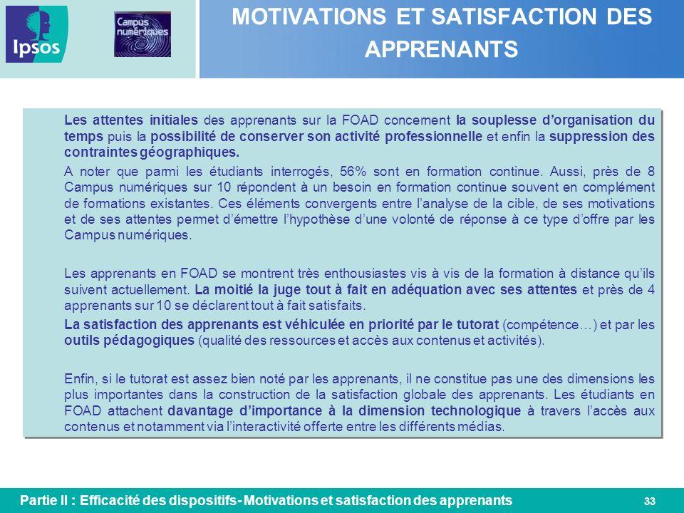 33 MOTIVATIONS ET SATISFACTION DES APPRENANTS Partie II : Efficacité des dispositifs- Motivations et satisfaction des apprenants Les attentes initiale