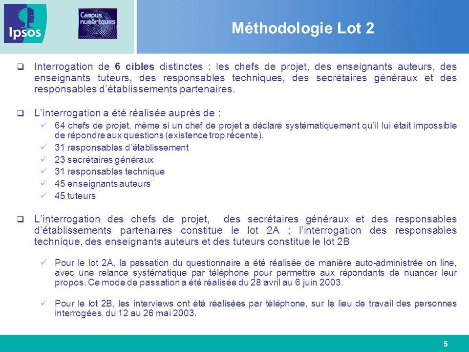 5 Méthodologie Lot 2 Interrogation de 6 cibles distinctes : les chefs de projet, des enseignants auteurs, des enseignants tuteurs, des responsables te