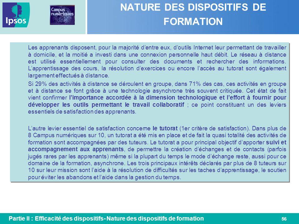 56 NATURE DES DISPOSITIFS DE FORMATION Partie II : Efficacité des dispositifs- Nature des dispositifs de formation Les apprenants disposent, pour la m