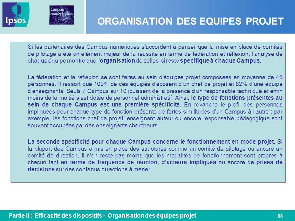 68 ORGANISATION DES EQUIPES PROJET Si les partenaires des Campus numériques saccordent à penser que la mise en place de comités de pilotage a été un é