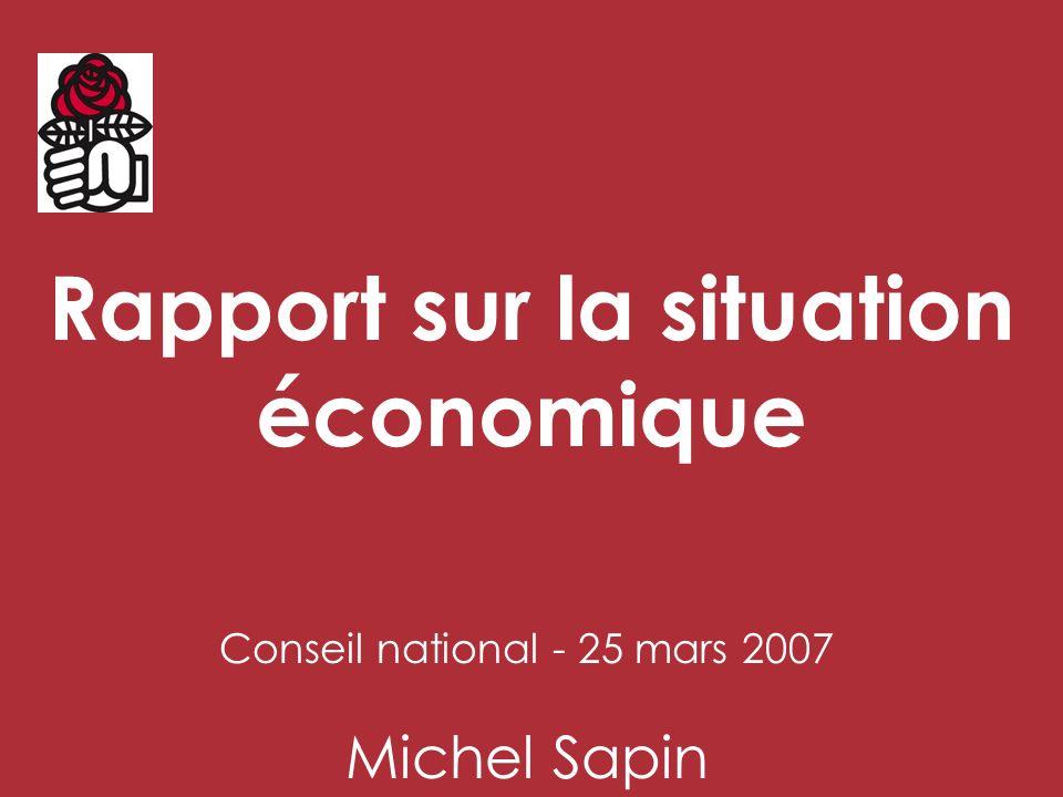 Rapport sur la situation économique Conseil national - 25 mars 2007 Michel Sapin