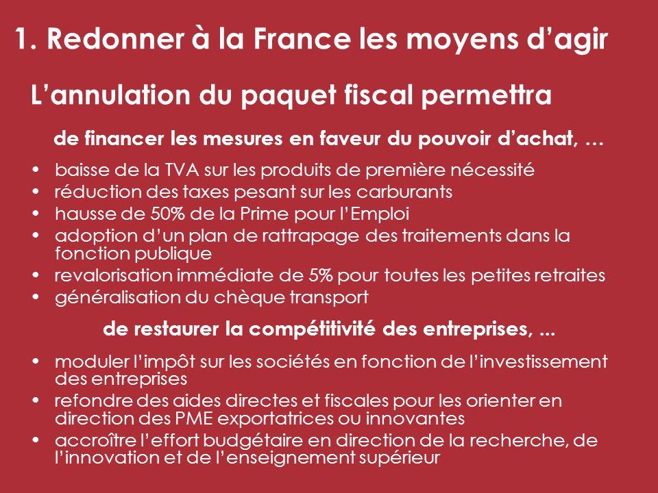 1. Redonner à la France les moyens dagir Lannulation du paquet fiscal permettra de financer les mesures en faveur du pouvoir dachat, … baisse de la TV