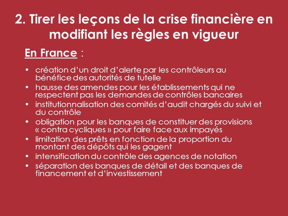 2. Tirer les leçons de la crise financière en modifiant les règles en vigueur En France : création dun droit dalerte par les contrôleurs au bénéfice d