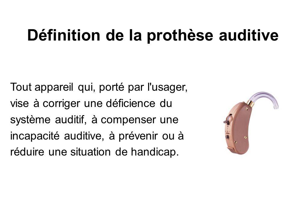 Tout appareil qui, porté par l'usager, vise à corriger une déficience du système auditif, à compenser une incapacité auditive, à prévenir ou à réduire