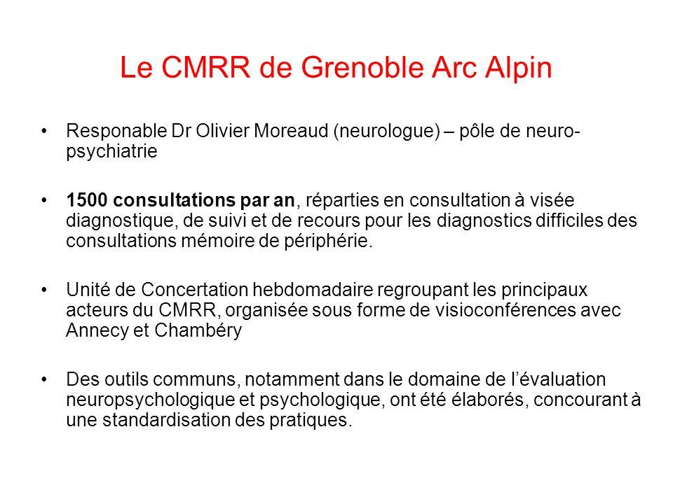 Le CMRR de Grenoble Arc Alpin Responable Dr Olivier Moreaud (neurologue) – pôle de neuro- psychiatrie 1500 consultations par an, réparties en consulta