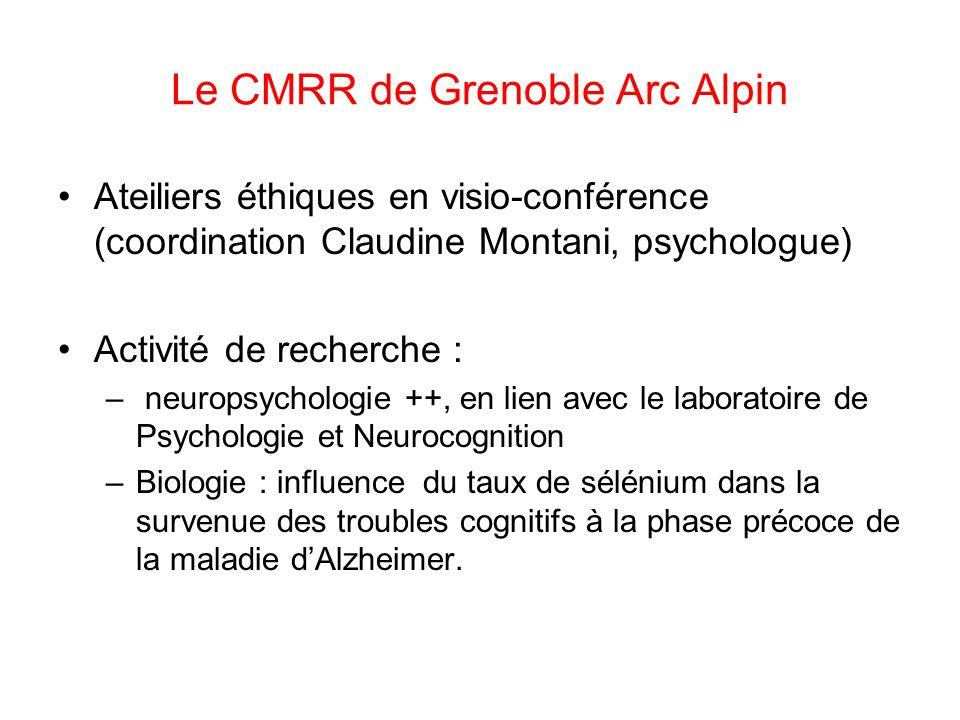 Le CMRR de Grenoble Arc Alpin Ateiliers éthiques en visio-conférence (coordination Claudine Montani, psychologue) Activité de recherche : – neuropsych