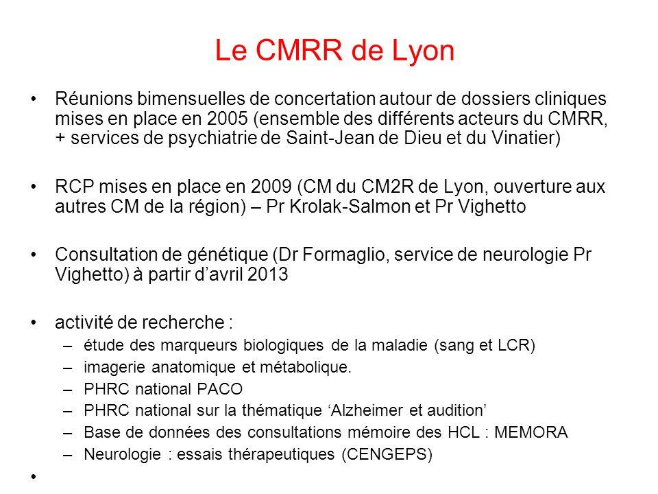 Le CMRR de Lyon Réunions bimensuelles de concertation autour de dossiers cliniques mises en place en 2005 (ensemble des différents acteurs du CMRR, +