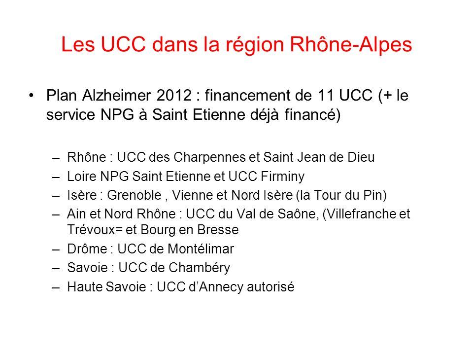 Les UCC dans la région Rhône-Alpes Plan Alzheimer 2012 : financement de 11 UCC (+ le service NPG à Saint Etienne déjà financé) –Rhône : UCC des Charpe
