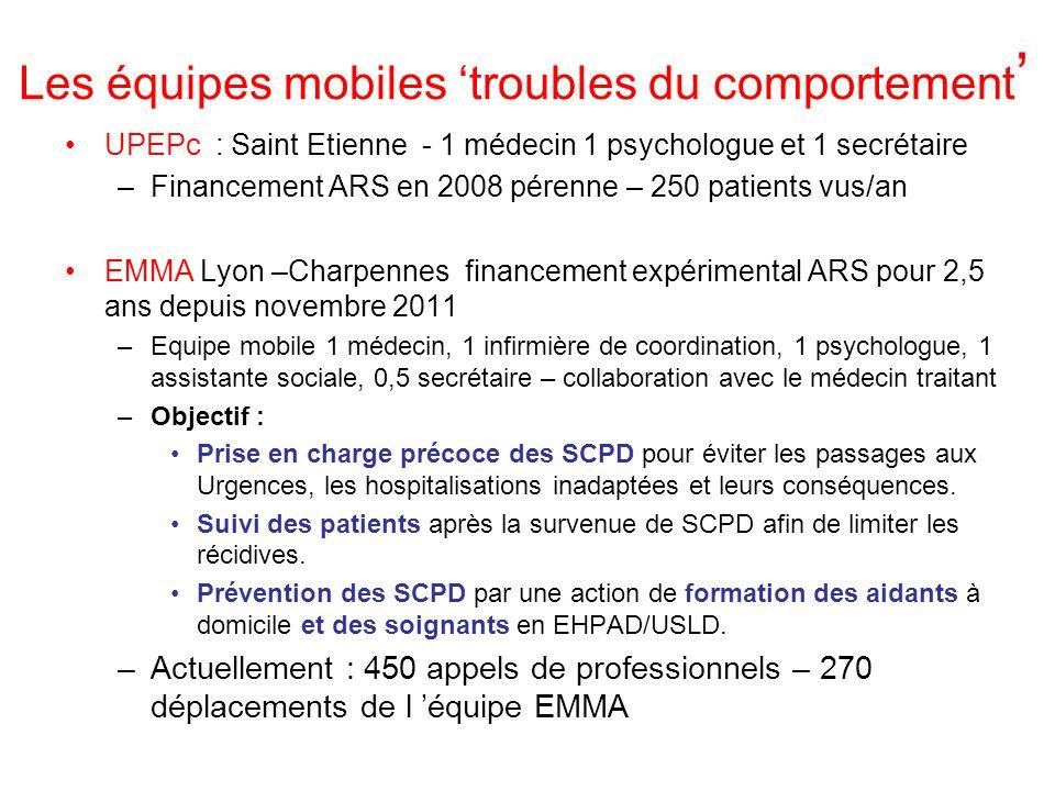 Les équipes mobiles troubles du comportement UPEPc : Saint Etienne - 1 médecin 1 psychologue et 1 secrétaire –Financement ARS en 2008 pérenne – 250 pa
