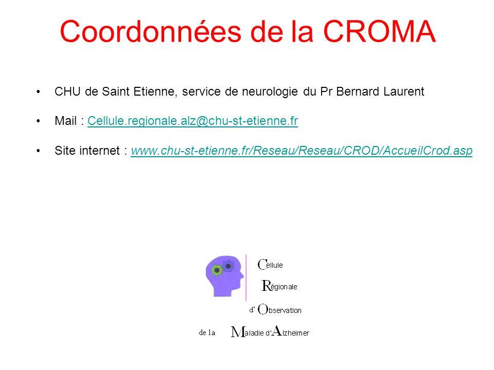 Coordonnées de la CROMA CHU de Saint Etienne, service de neurologie du Pr Bernard Laurent Mail : Cellule.regionale.alz@chu-st-etienne.frCellule.region