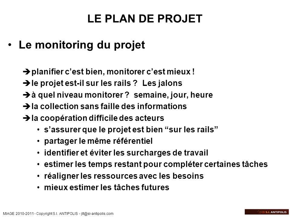 MIAGE 2010-2011 - Copyright S.I. ANTIPOLIS - jlt@si-antipolis.com LE PLAN DE PROJET Le monitoring du projet planifier cest bien, monitorer cest mieux