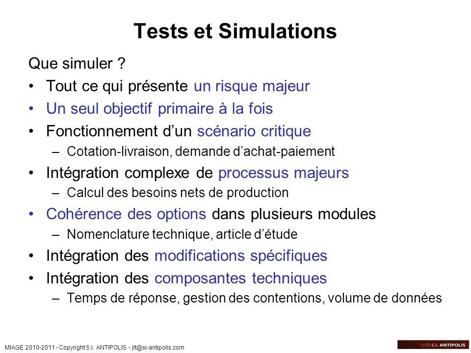 MIAGE 2010-2011 - Copyright S.I. ANTIPOLIS - jlt@si-antipolis.com Tests et Simulations Que simuler ? Tout ce qui présente un risque majeur Un seul obj