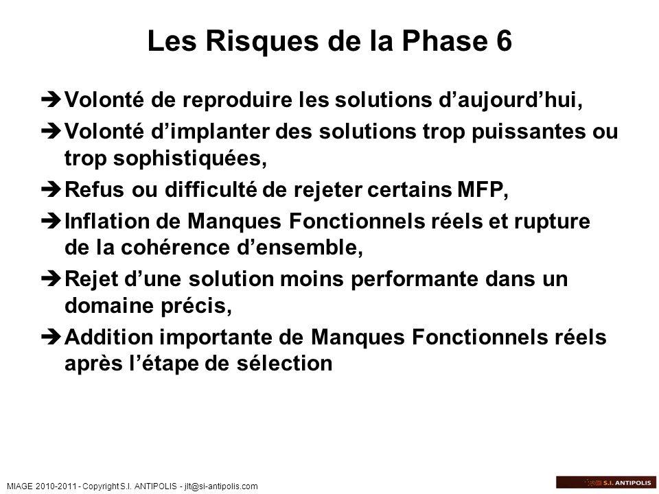 MIAGE 2010-2011 - Copyright S.I. ANTIPOLIS - jlt@si-antipolis.com Les Risques de la Phase 6 Volonté de reproduire les solutions daujourdhui, Volonté d