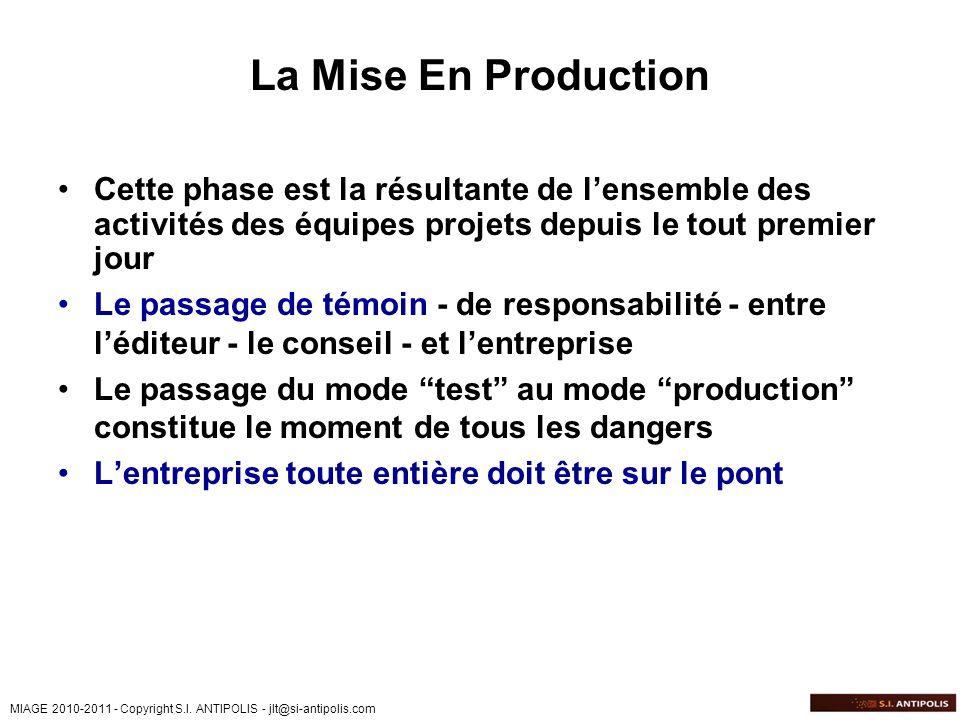 MIAGE 2010-2011 - Copyright S.I. ANTIPOLIS - jlt@si-antipolis.com La Mise En Production Cette phase est la résultante de lensemble des activités des é