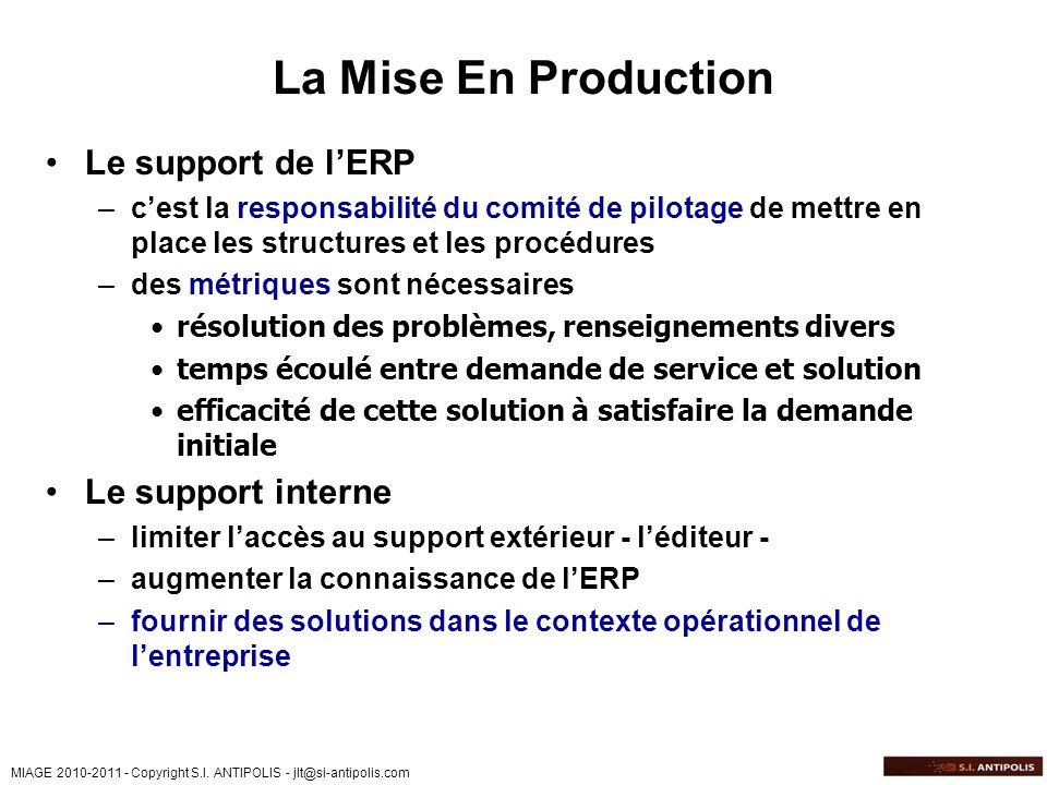 MIAGE 2010-2011 - Copyright S.I. ANTIPOLIS - jlt@si-antipolis.com La Mise En Production Le support de lERP –cest la responsabilité du comité de pilota